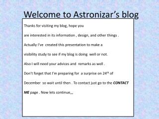 Welcome to Astronizar's blog