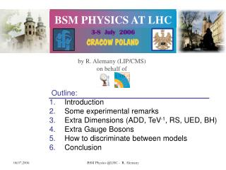 Outline:  Introduction  Some experimental remarks  Extra Dimensions (ADD, TeV -1 , RS, UED, BH)
