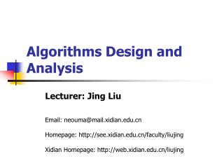 Algorithms Design and Analysis