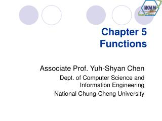 Chapter 5 Functions