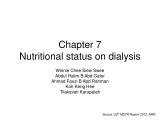 Chapter 7 Nutritional status on dialysis