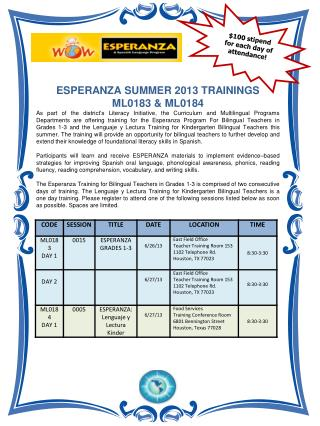 ESPERANZA SUMMER 2013 TRAININGS  ML0183 & ML0184