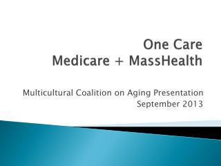 One Care Medicare +  MassHealth