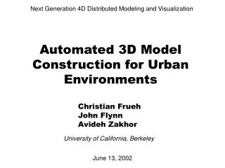 Automated 3D Model Construction for Urban Environments