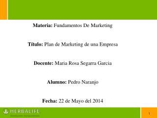 Materia:  Fundamentos De Marketing Título:  Plan de Marketing de una Empresa