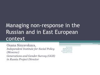 Managing non-response in the Russian and in East European context