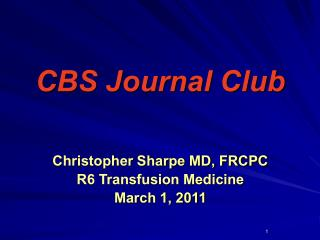 CBS Journal Club