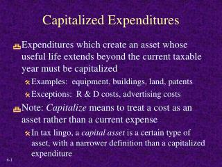 Capitalized Expenditures
