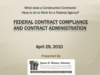 Federal Contract Compliance  and Contract Administration