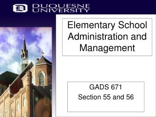 Elementary School Administration and Management