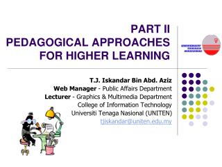 PART II PEDAGOGICAL APPROACHES FOR HIGHER LEARNING