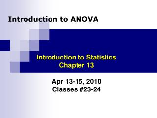 Introduction to ANOVA