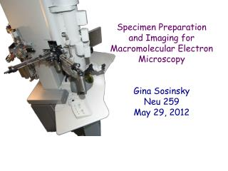 Specimen Preparation and Imaging for Macromolecular Electron Microscopy Gina Sosinsky Neu 259