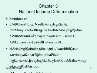 Chapter 3 National Income Determination