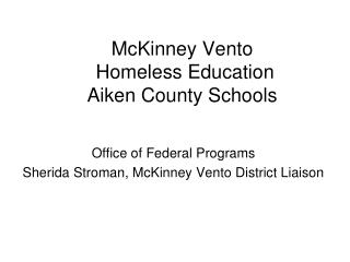 McKinney Vento  Homeless Education  Aiken County Schools