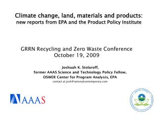 GRRN Recycling and Zero Waste Conference October 19, 2009