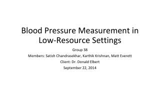 Blood Pressure Measurement in Low-Resource Settings