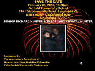 Sponsored by The Anniversary Committee of   Greater New Hope Christian Fellowship