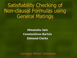 Satisfiability Checking of Non-clausal Formulas using General Matings