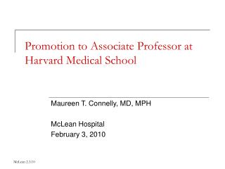 Promotion to Associate Professor at Harvard Medical School