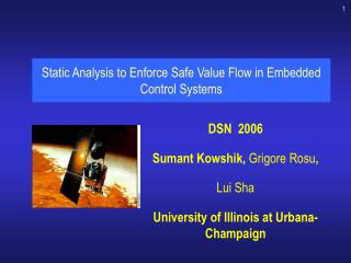 Static Analysis to Enforce Safe Value Flow in Embedded Control Systems