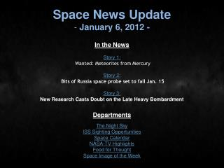 Space News Update  January 6, 2012 -