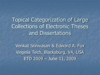 Topical Categorization of Large Collections of Electronic Theses and Dissertations