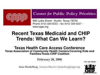 Recent Texas Medicaid and CHIP Trends: What Can We Learn?