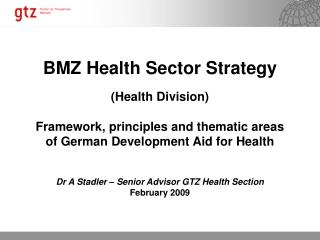 BMZ Health Sector Strategy (Health Division)