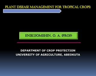 PLANT DISEASE MANAGEMENT FOR Tropical CROPS :