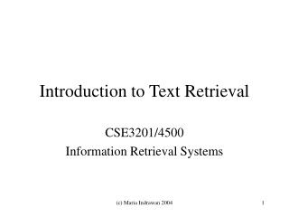 Introduction to Text Retrieval