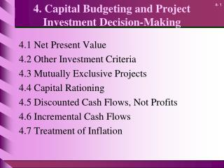 4. Capital Budgeting and Project Investment Decision-Making