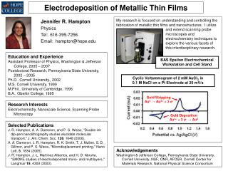 Electrodeposition of Metallic Thin Films