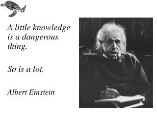 A little knowledge is a dangerous thing.   So is a lot. Albert Einstein