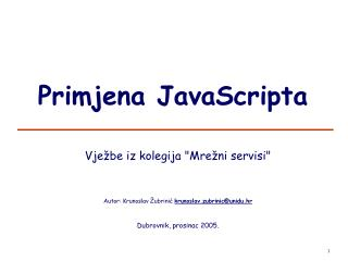 Primjena JavaScripta