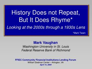 Mark Vaughan Washington University in St. Louis Federal Reserve Bank of Richmond