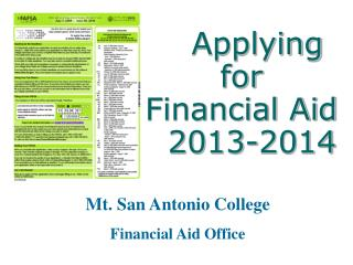 Applying for  Financial Aid   2013-2014