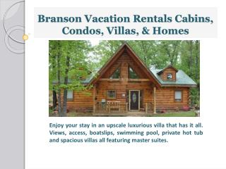 Vacation rentals in Branson on the lake