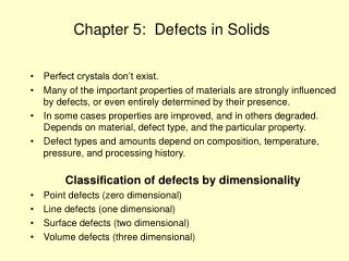 Chapter 5:  Defects in Solids