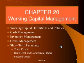 CHAPTER 20 Working Capital Management