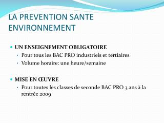 LA PREVENTION SANTE ENVIRONNEMENT