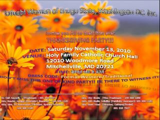 Invites you All to their first ever THANKSGIVING PARTY!!!