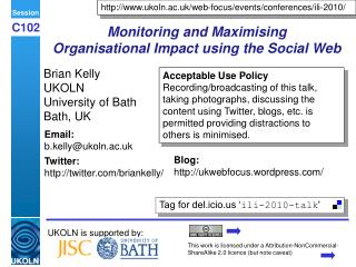 Monitoring and Maximising  Organisational Impact using the Social Web