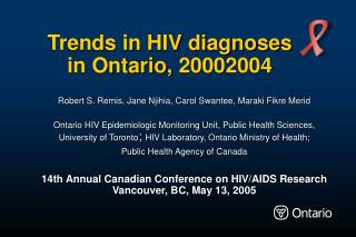 Trends in HIV diagnoses  in Ontario, 2000­2004