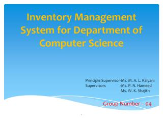 Inventory Management System for Department of Computer Science