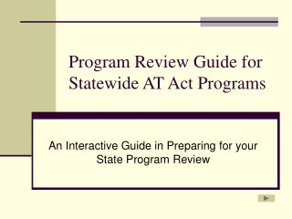 Program Review Guide for Statewide AT Act Programs