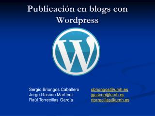 Publicación en blogs con  Wordpress