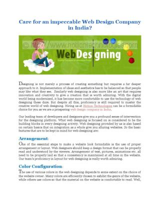Care for an impeccable Web Design Company in India