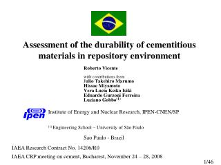Assessment of the durability of cementitious materials in repository environment