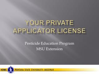 Your Private Applicator License